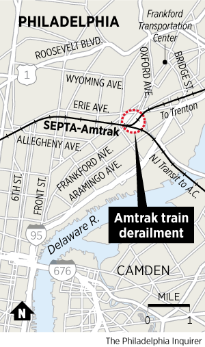 Map Amtrak Train Derails In Port Richmond Philly - Philly train map