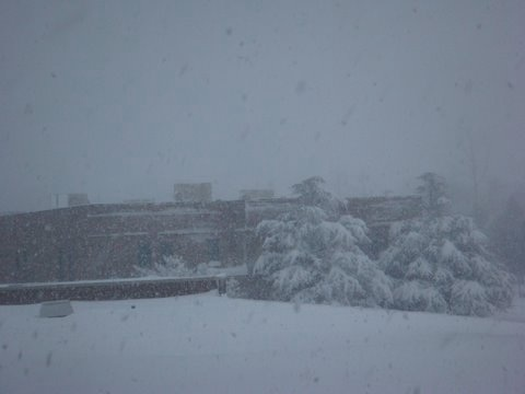 Paoli Hospital in the blizzard.