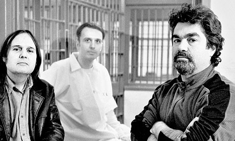 Directors Bruce Sinofsky and Joe Berlinger flank now-freed Death Row inmate Damien Echols.