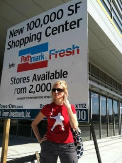 Shopper Laura Daley in front of an empty supermarket in Northern Liberties.