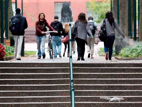 File photo: A squirrel runs across the steps near the School of Engineering and Applied Science on the University of Pennsylvania on Monday, October 15, 2012. YONG KIM / Staff Photographer