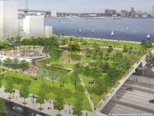 A four-acre park would span I-95 and the mostly paved surfaces of Penn´s Landing would be replaced with a sloping 11 acres of additional greenery and shops under a plan in need of $250 million in public funding.