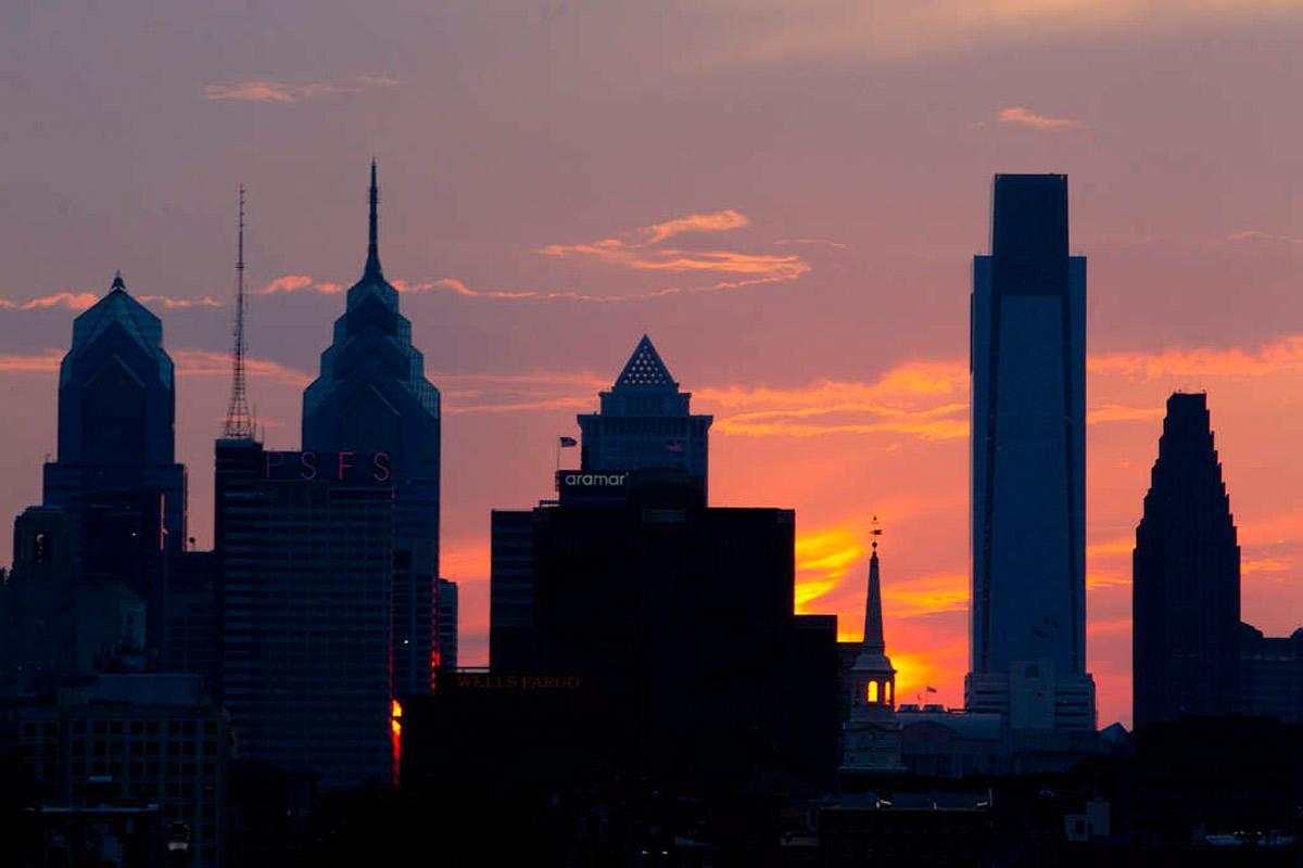 The Philadelphia skyline on Aug. 30, 2015.
