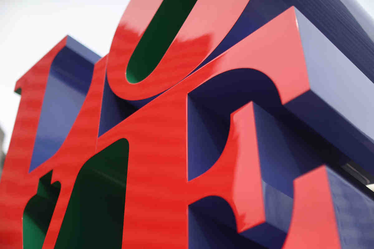 Robert Indiana´s sculpture is back in the redesigned Love Park Tuesday April 24, 2018.