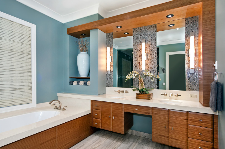 Amazing ... And Inject Color Via A Sky Blue Vanity. This Is A Good Palette For A  Bathroom That Doesnu0027t Receive Much Natural Light. The White Walls Help  Brighten The ...