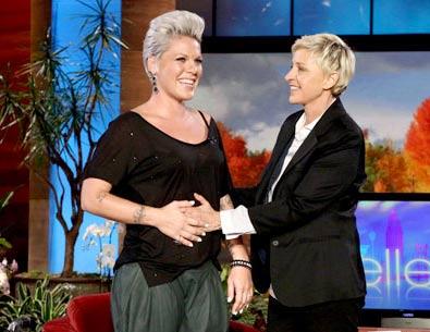 Pink revealed her pregnancy in Nov. 2010 on the Ellen DeGeneres Show.