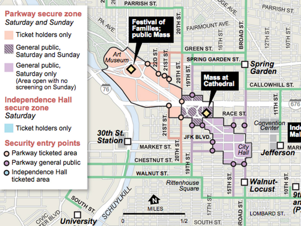 Map Walking Routes Ticketed Areas For Pope39s Visit