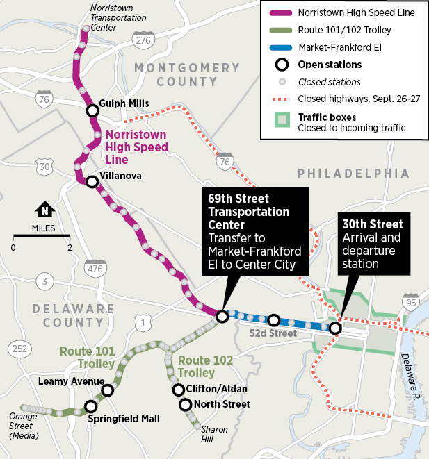 Map Using Norristown High Speed Line Or Trolleys For Popes Visit - Philly septa map