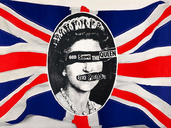 Jamie Reid, Sex Pistols: God Save the Queen Poster, 1977, lithograph.  Collection of Andrew Krivine.