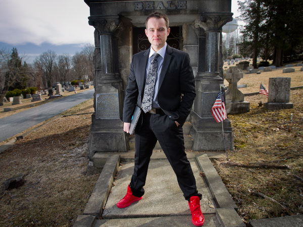 Funeral director and blogger Caleb Wilde at Fairview Cemetery in Coatesville, PA on Thursday, April 3, 2014. (ALEJANDRO A. ALVAREZ / STAFF PHOTOGRAPHER)