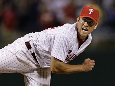 Phillies Brad Lidge waits for the call strike on Jorge Cantu to end the game Sept. 8. (Ron Cortes/Inquirer).