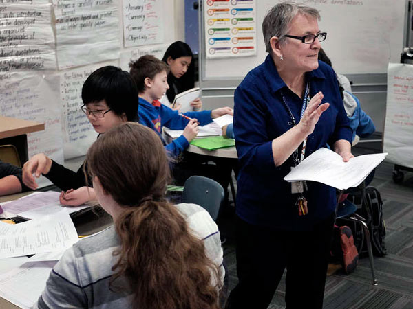 School librarian Bernadette Kearney has managed to hold on to her job, but it hasn´t been easy. She lost her job to budget cuts in 2013, but was back at work when a donor stepped up. She held on a second time after being assigned classes as a teacher.
