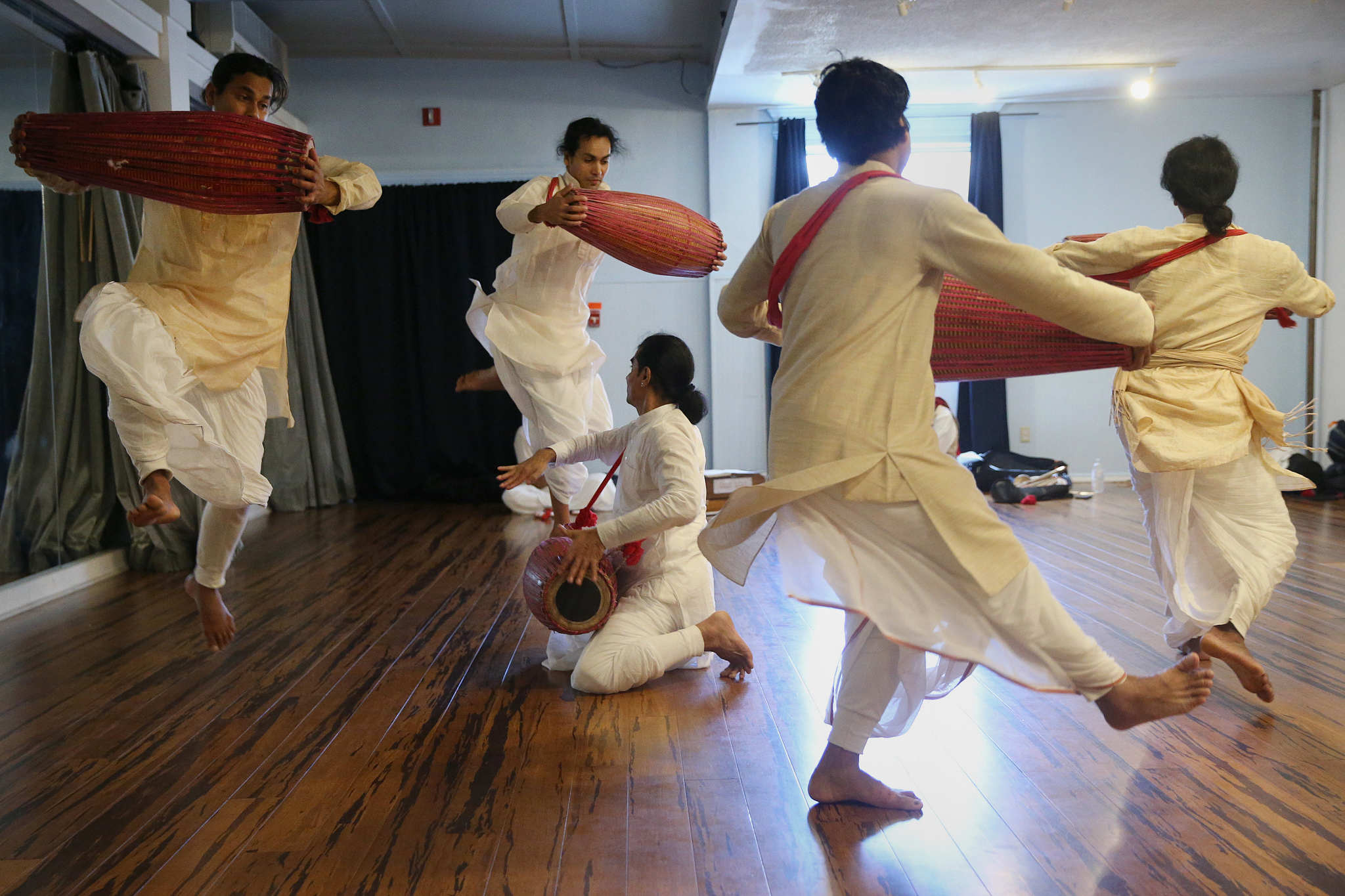 """The Dancing Monks of Assam rehearse with khol drums at the Headlong dance studio in South Philadelphia on Friday, April 20, 2018. The group will perform the Sattriya form of dance in their performance, titled """"An Odyssey of the Spirit,"""" at Drexel University on April 28."""