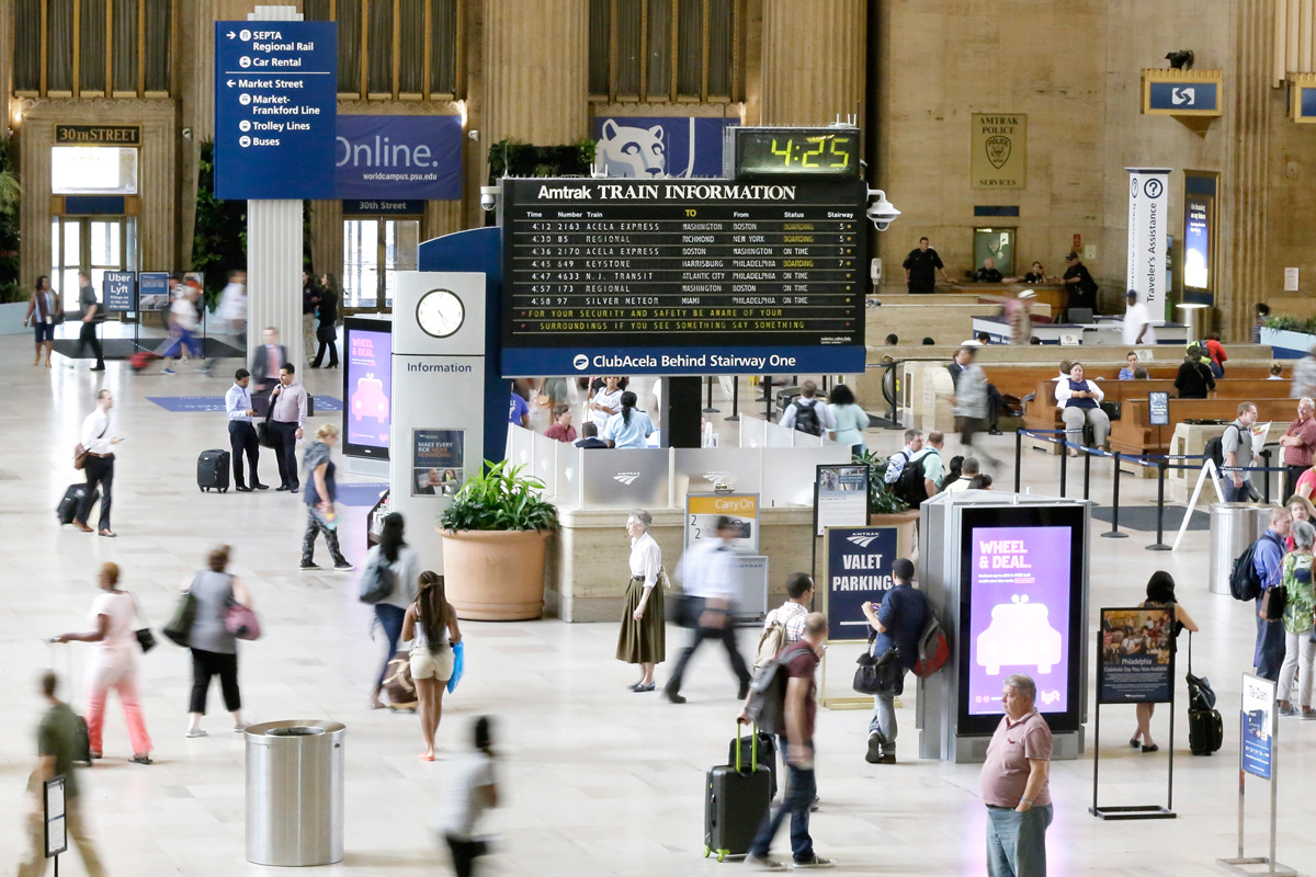 Amtrak´s flip style display board at 30th St. Station on Thursday, Aug. 25. Amtrak will soon replace the display.