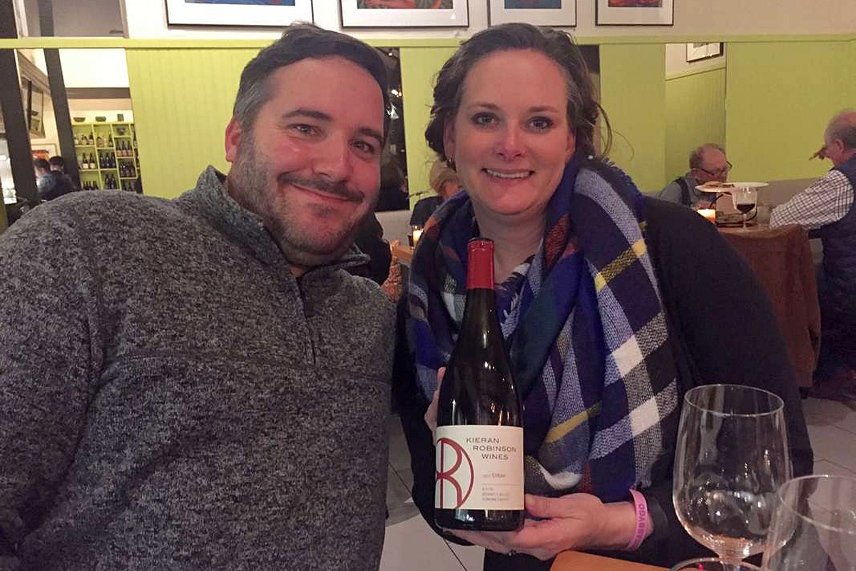 Winemakers Kieran and Kristie Robinson (of Kieran Robinson Wines) at dinner at the Fig Cafe in Glen Ellen, where the former Philadelphians now live.