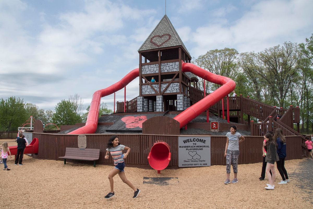 The Manderach Memorial Playground in Limerick has a heart-shaped slide that rises three stories above ground for kids — and adults — to enjoy.  The playground was built in memory of Lisa Manderach and her daughter Devon who were murdered.