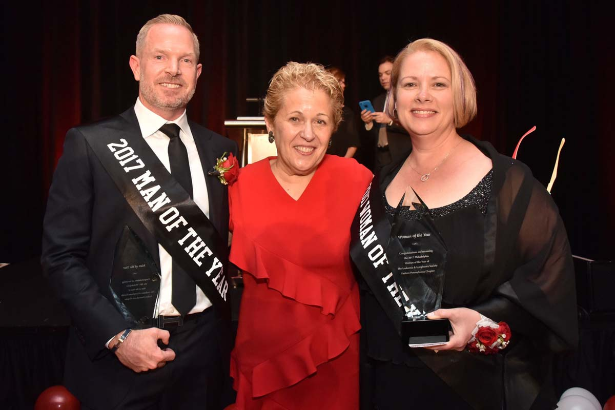 Philadelphia winners Man of the Year, Matt McNally, Ellen Rubesin, and Woman of the Year, Denise Bradley at the 2017 Man &amp;amp; Woman of the Year event for the Pennsylvania Chapter of the Leukemia &amp;amp; Lymphoma Society.<br /><br /><br /><br />