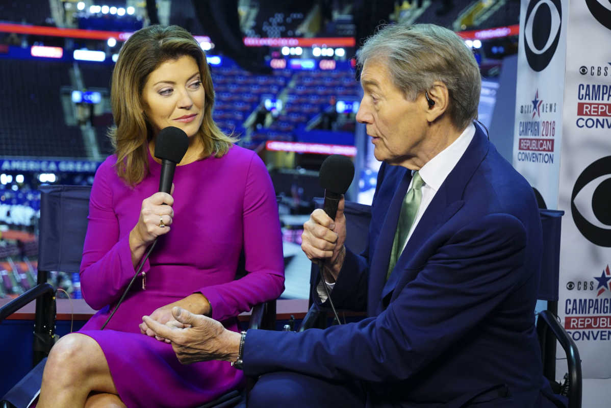 "Charlie Rose and ""CBS This Morning"" cohost Norah O´Donnell cover the Republican National Convention in Philadelphia on July 20, 2016."
