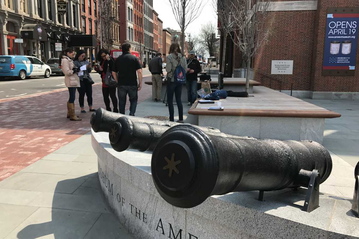 Press gathers outside Museum of the American Revolution during a special preview day.