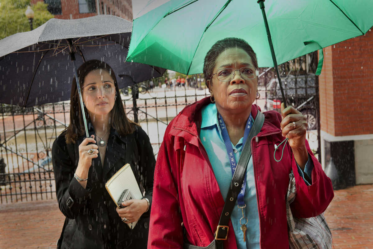 "Rose Byrne (left) and Oprah Winfrey in a scene from HBO's ""The Immortal Life of Henrietta Lacks,"" which premieres at 8 p.m. April 22"