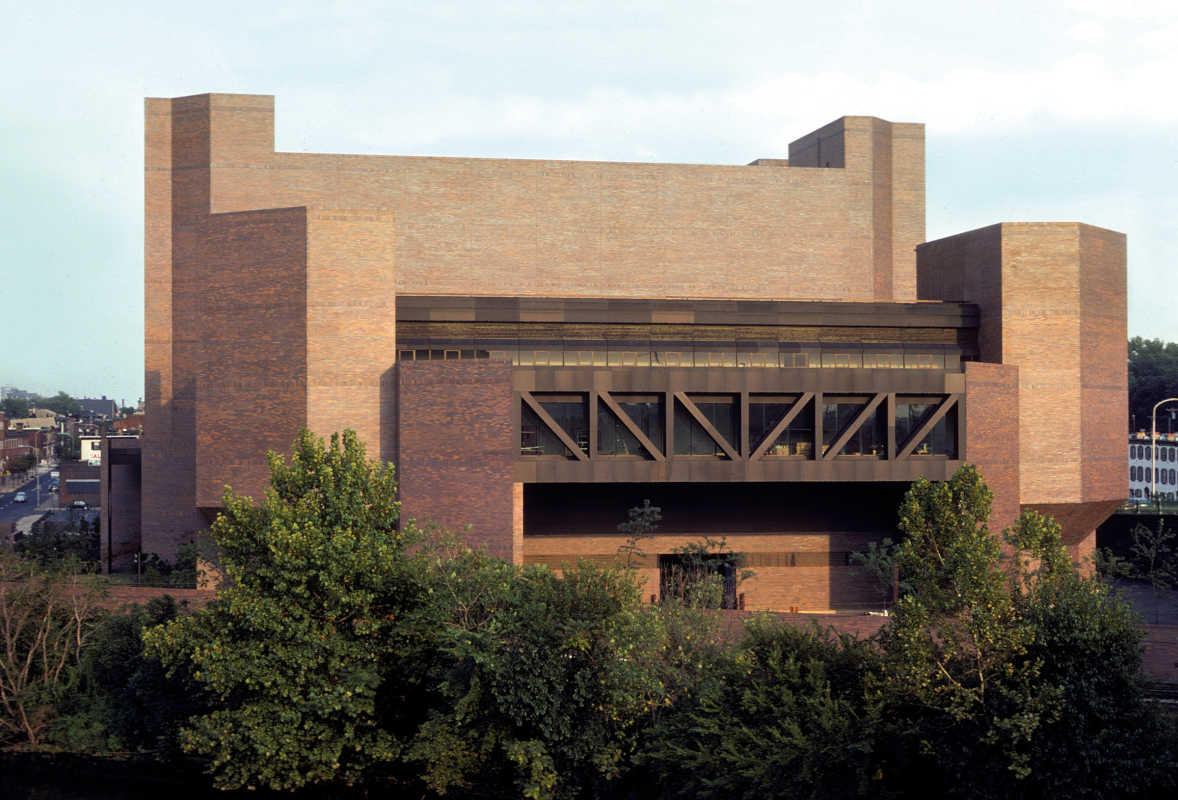 The AT&T switching station at South Street resembles a medieval fortress. It was designed by Ewing Cole architects in 1967.