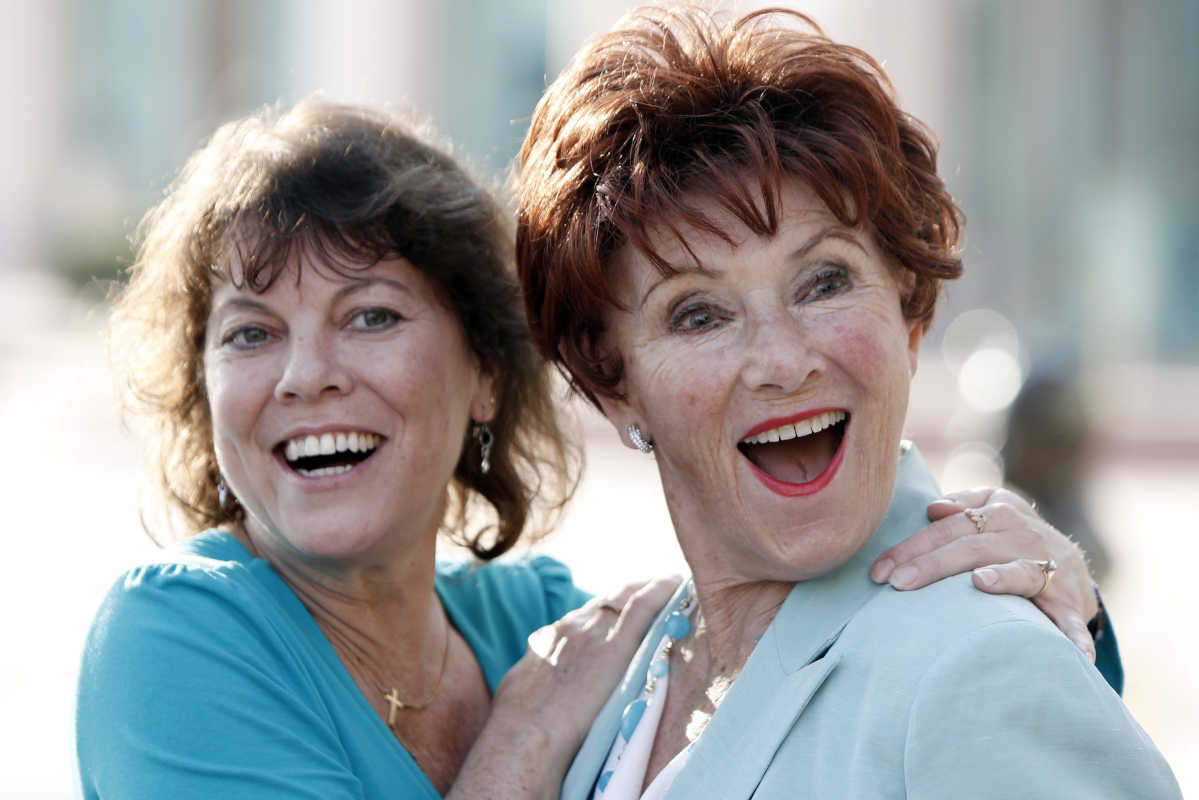 "In this June 18, 2009 file photo, actresses Erin Moran (left) and Marion Ross pose together at the Academy of Television Arts and Sciences´ ""A Father´s Day Salute to TV Dads"" in the North Hollywood section of Los Angeles. Moran, the former child star who played Joanie Cunningham in the sitcoms ""Happy Days"" and ""Joanie Loves Chachi"" has died at age 56."