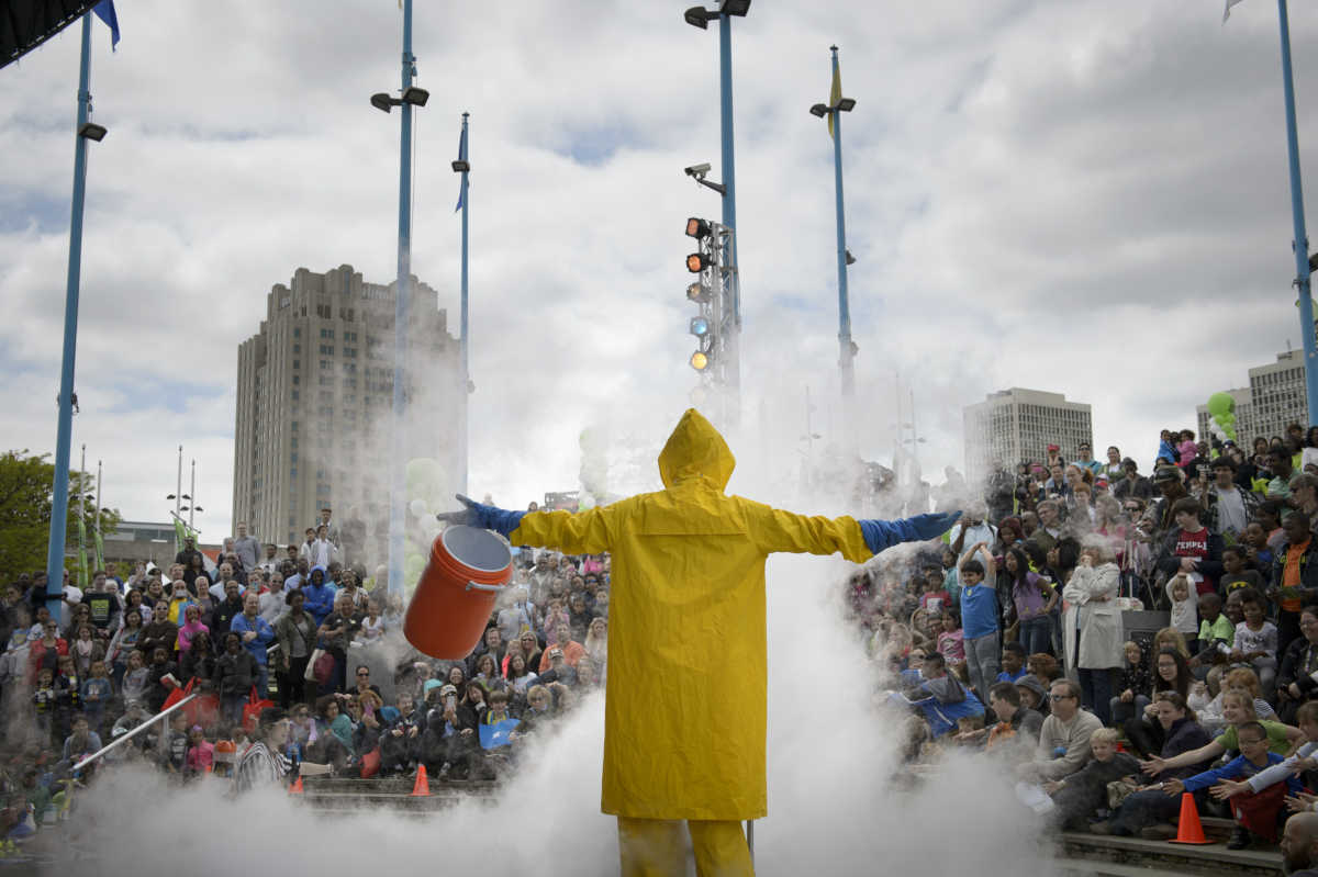 David Wrigley, a presenter for the Franklin Institute´s Traveling Science Show, creates an explosion using liquid nitrogen during the Science Carnival at Penn's Landing in April 2016.