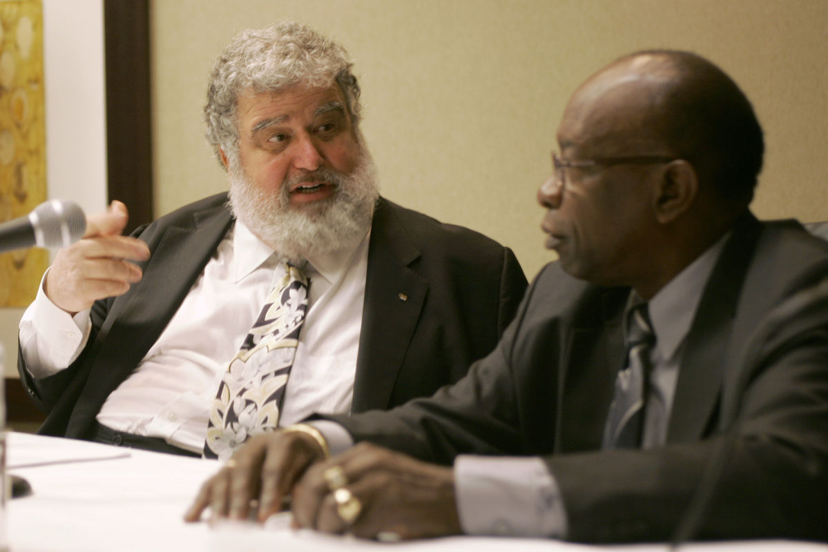 In this Jan. 28, 2008 file photo, former Confederation of North, Central American and Caribbean Association Football (CONCACAF) general secretary Chuck Blazer (left) and president Jack Warner chat during a news conference.