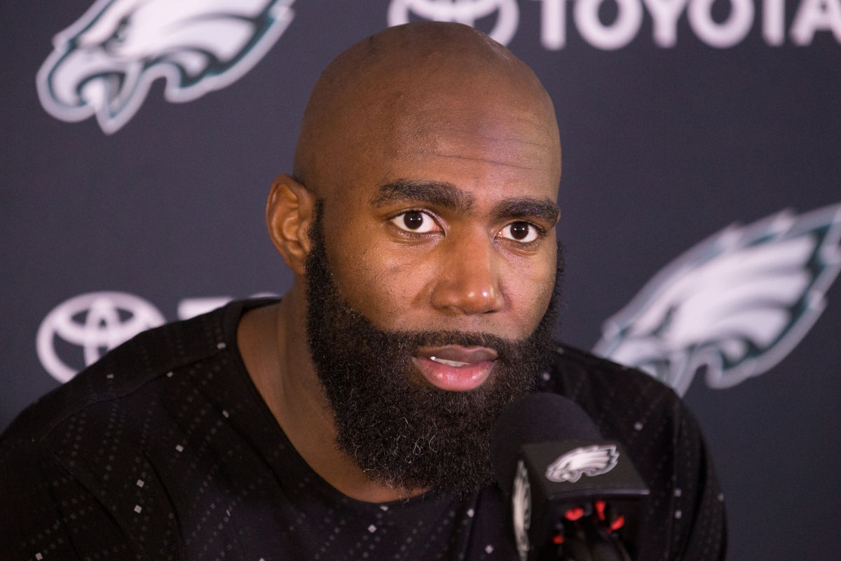 Eagles safety Malcolm Jenkins speaks to the media Monday April 24, 2017.