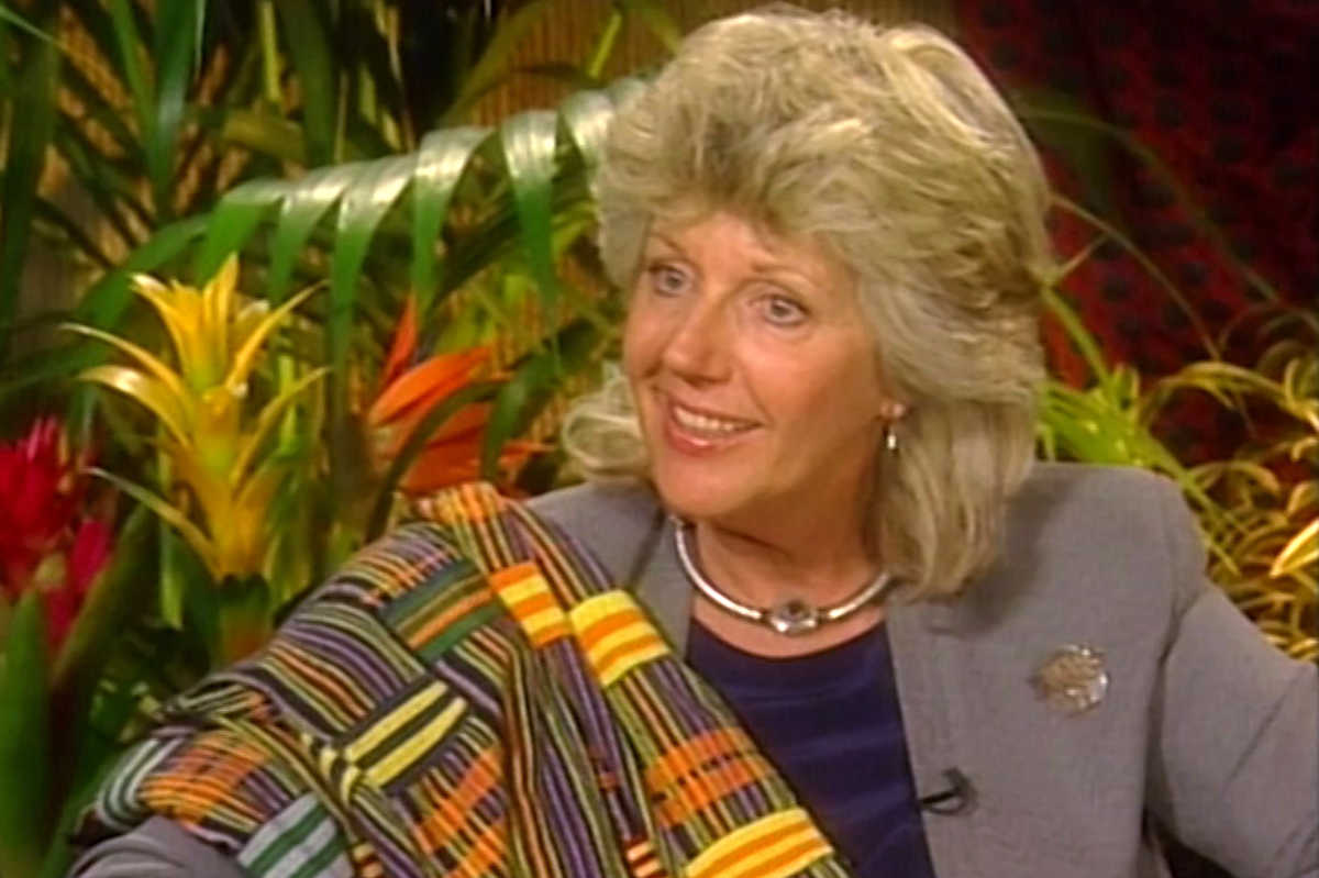 In this image from video footage taken on May 3, 2000 in New York, the Italian-born author and conservationist Kuki Gallmann speaks during an interview.