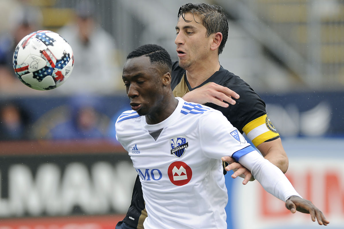Union midfielder Alejandro Bedoya tried to spark the team´s defense during the second half of Saturday´s 3-3 draw with the Montreal Impact at Talen Energy Stadium, including a one-on-one duel with Impact rookie phenom Ballou Jean-Yves Tabla.