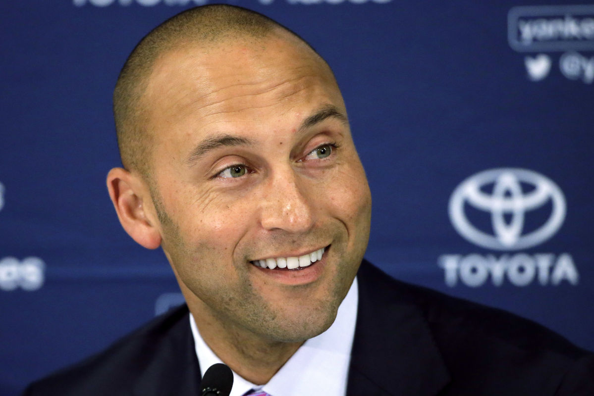 The group led by former New York Yankees captain Derek Jeter (above) and former Florida Gov. Jeb Bush has not yet officially won the bidding to buy the Miami Marlins, according to Major League Baseball commissioner Rob Manfred.