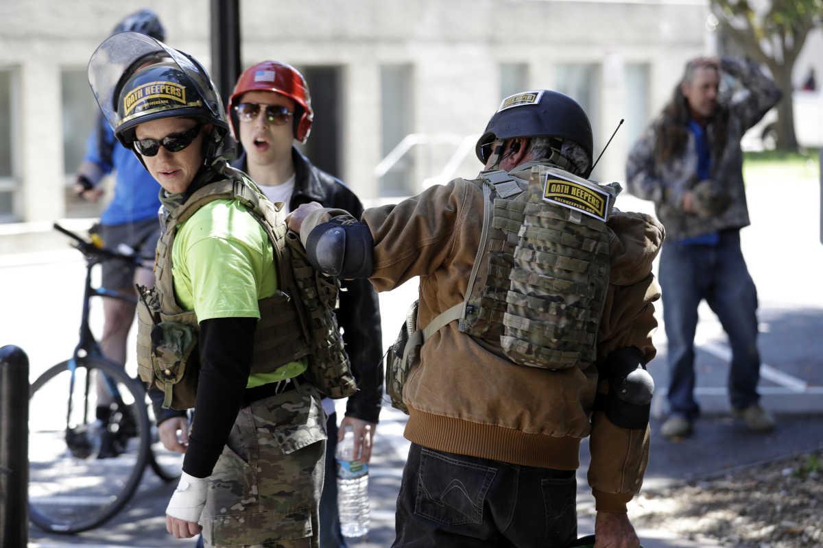 Demonstrators gear up for potential street battles Thursday in Berkeley, Calif.