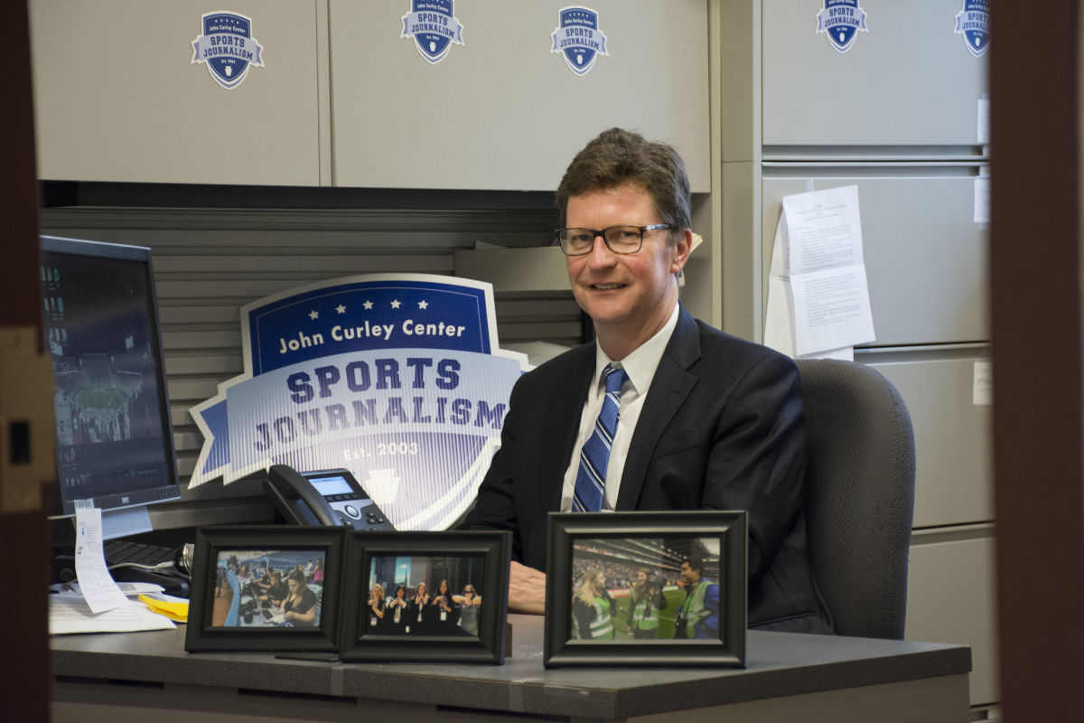 Penn State sports journalism professor John Affleck, in his office in the Donald P. Bellisario College of Communications.