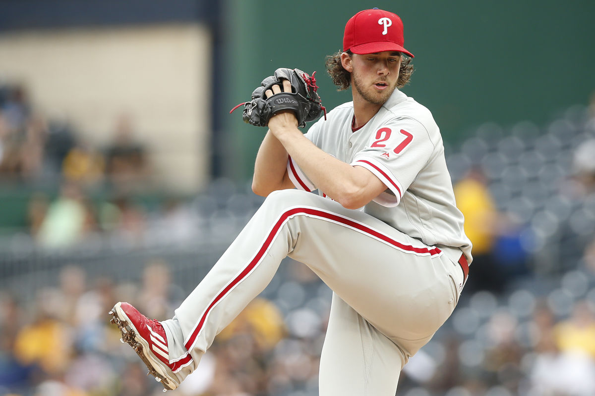 Phillies starter Aaron Nola pitches against the Pirates on Sunday, May 21, 2017.