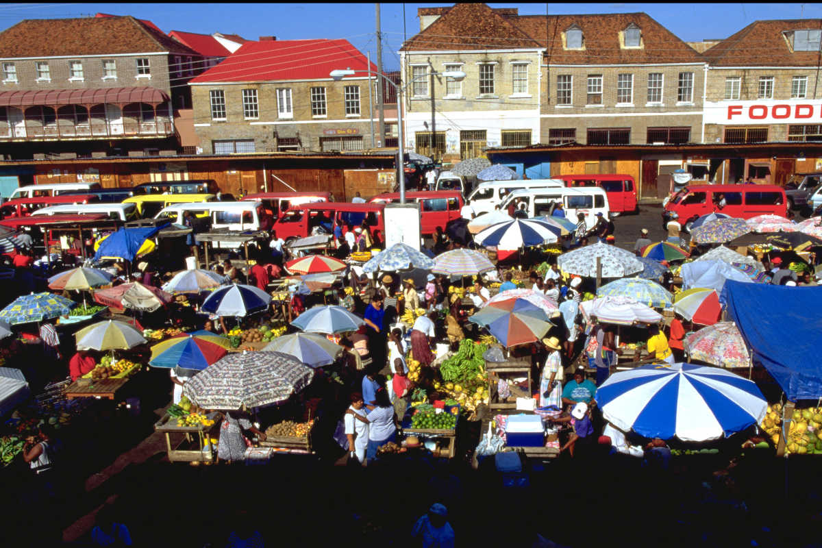 St. George&acute;s Market Square in Grenada, whose prime minister, Keith Mitchell, says Caribbean countries must join forces in marketing and transportation links.<br />