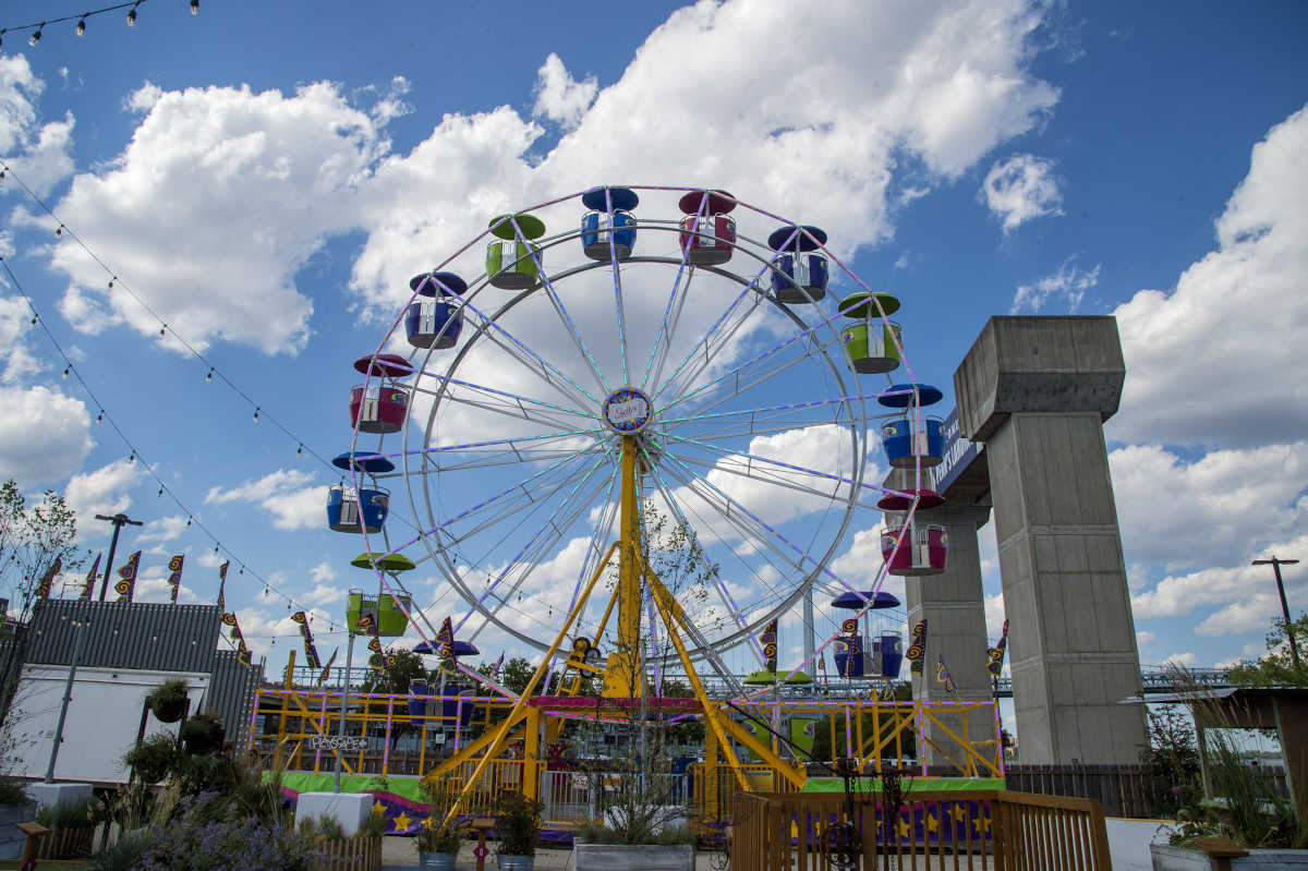Skelly's Amusements Inc. has set up a mini country fair, complete with a Ferris wheel, at Penn's Landing for a 10-week run starting this weekend and running through the Labor Day holiday.