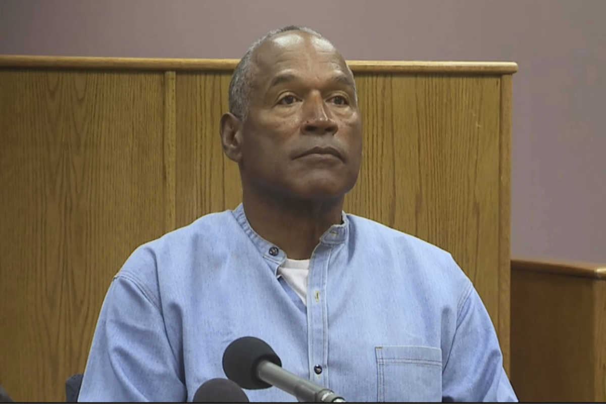 O.J. Simpson appears via video for his parole hearing at the Lovelock Correctional Center in Lovelock, Nev., on Thursday.<br />