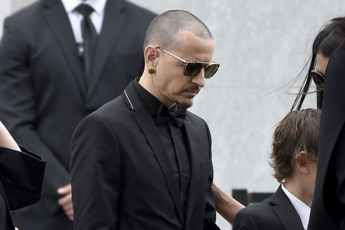 Chester Bennington, of Linkin Park, attends a funeral for Chris Cornell at the Hollywood Forever Cemetery on Friday, May 26, 2017, in Los Angeles.