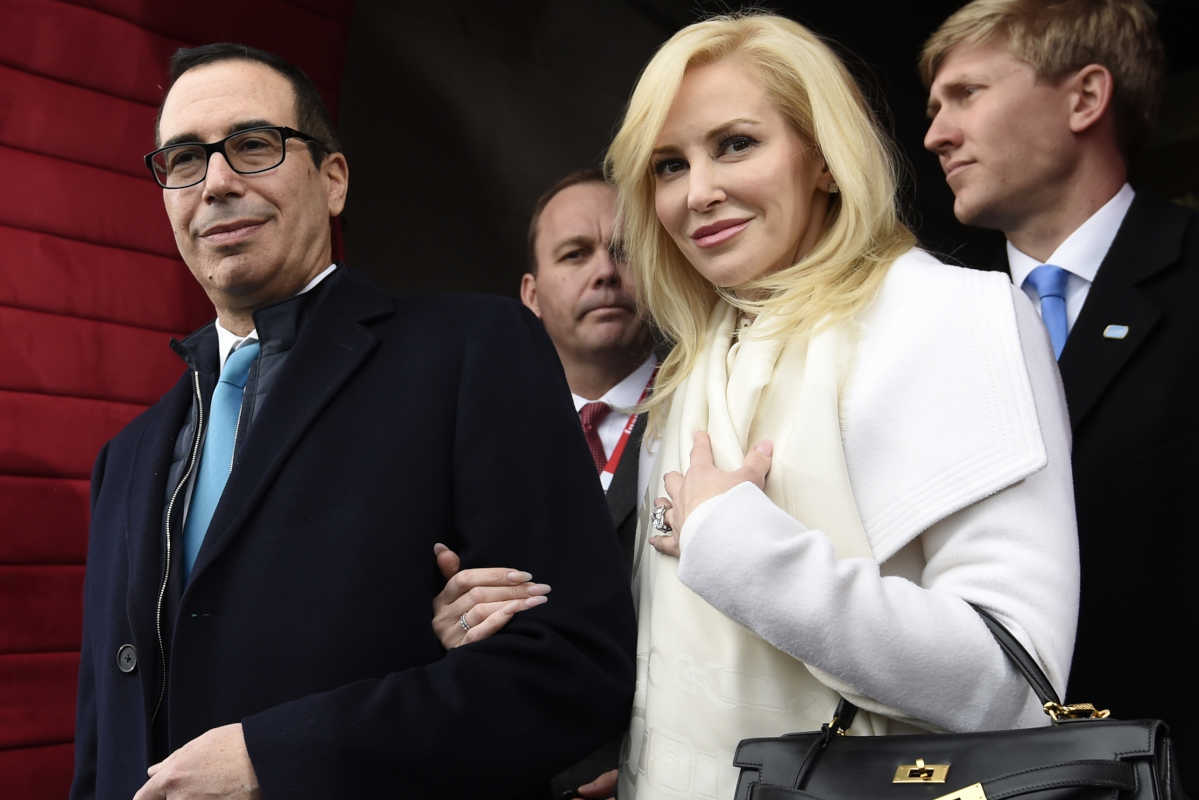 Treasury Secretary Steven Mnuchin and Louise Linton have been married for two months.<br />