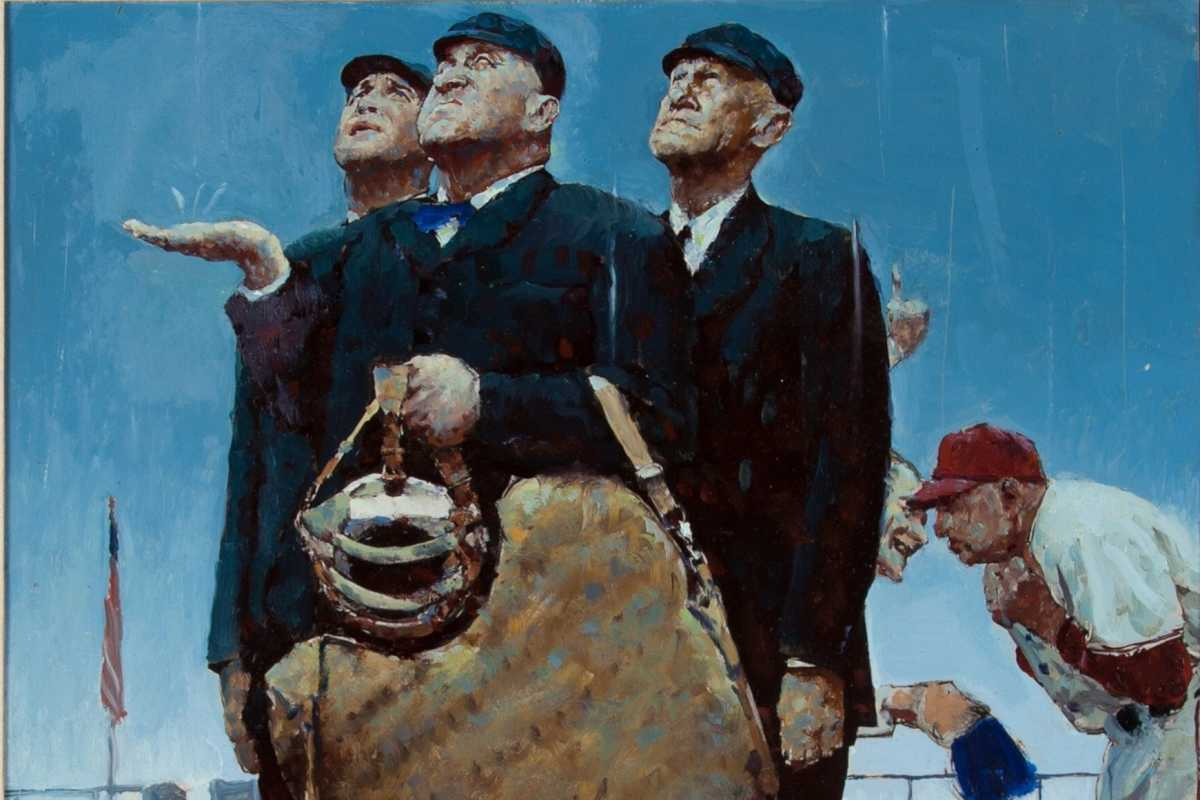 "This undated photo provided by Heritage Auctions shows a rendering by Norman Rockwell of one of his best known paintings. The rendering has sold at auction for $1.6 million. Heritage Auctions says the painting sold Sunday, Aug. 20, 2017, in Dallas to a buyer who wants to remain anonymous. The work was a study _ a preliminary work _ for Rockwell's ""Tough Call."" The painting features three umpires looking skyward pondering whether to call a game because of rain. The family that put it up for auction had thought they just had a print. (Heritage Auctions via AP)"