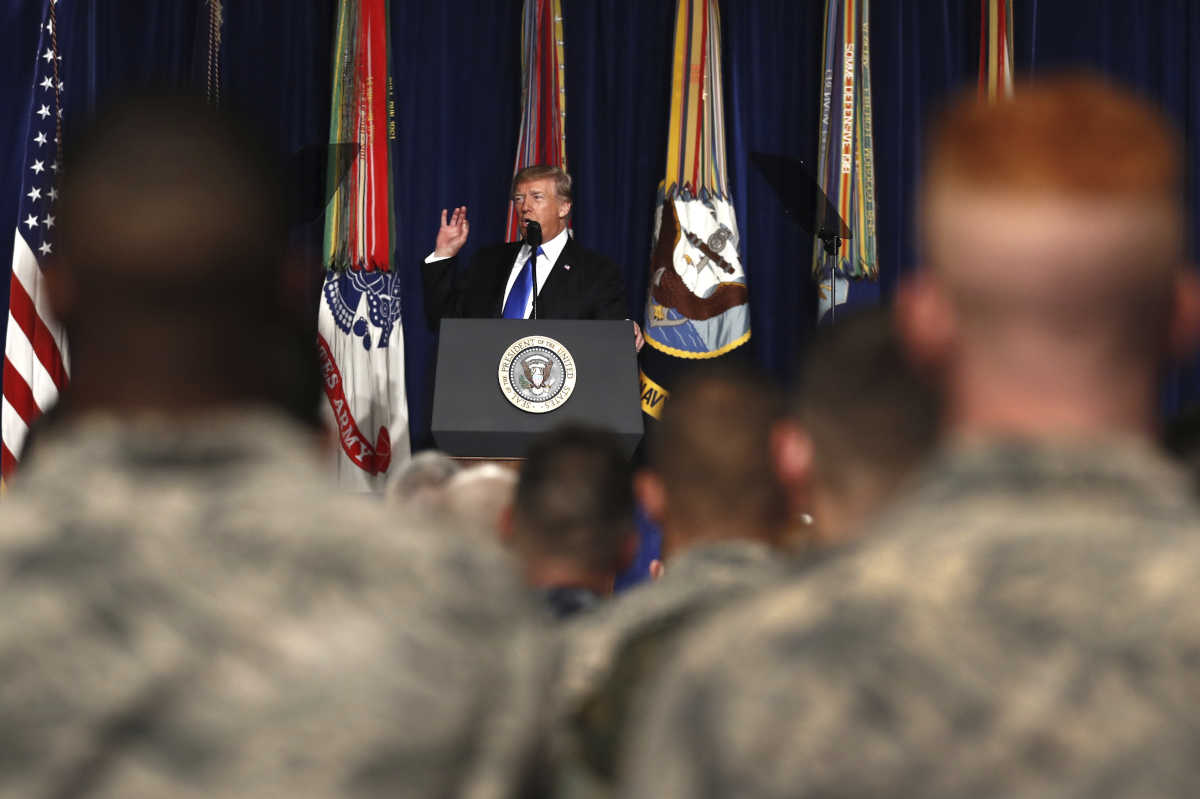 President Trump outlines a &amp;quot;path foward&amp;quot; in Afghanistan at Fort Myer in Arlington Va., on Monday.<br />