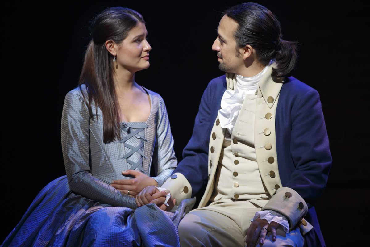 Phillipa Soo as Eliza Schuyler and Lin-Manuel Miranda as Alexander Hamilton in the original Broadway production of &amp;quot;Hamilton.&amp;quot;<br />