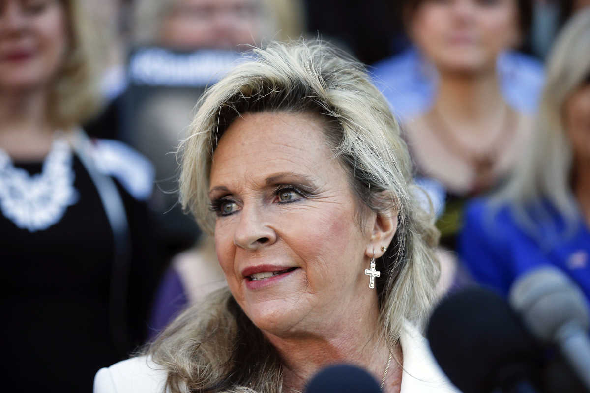 Kayla Moore, wife if former Alabama Chief Justice and U.S. Senate candidate Roy Moore, speaks at a press conference Friday in Montgomery, Ala.