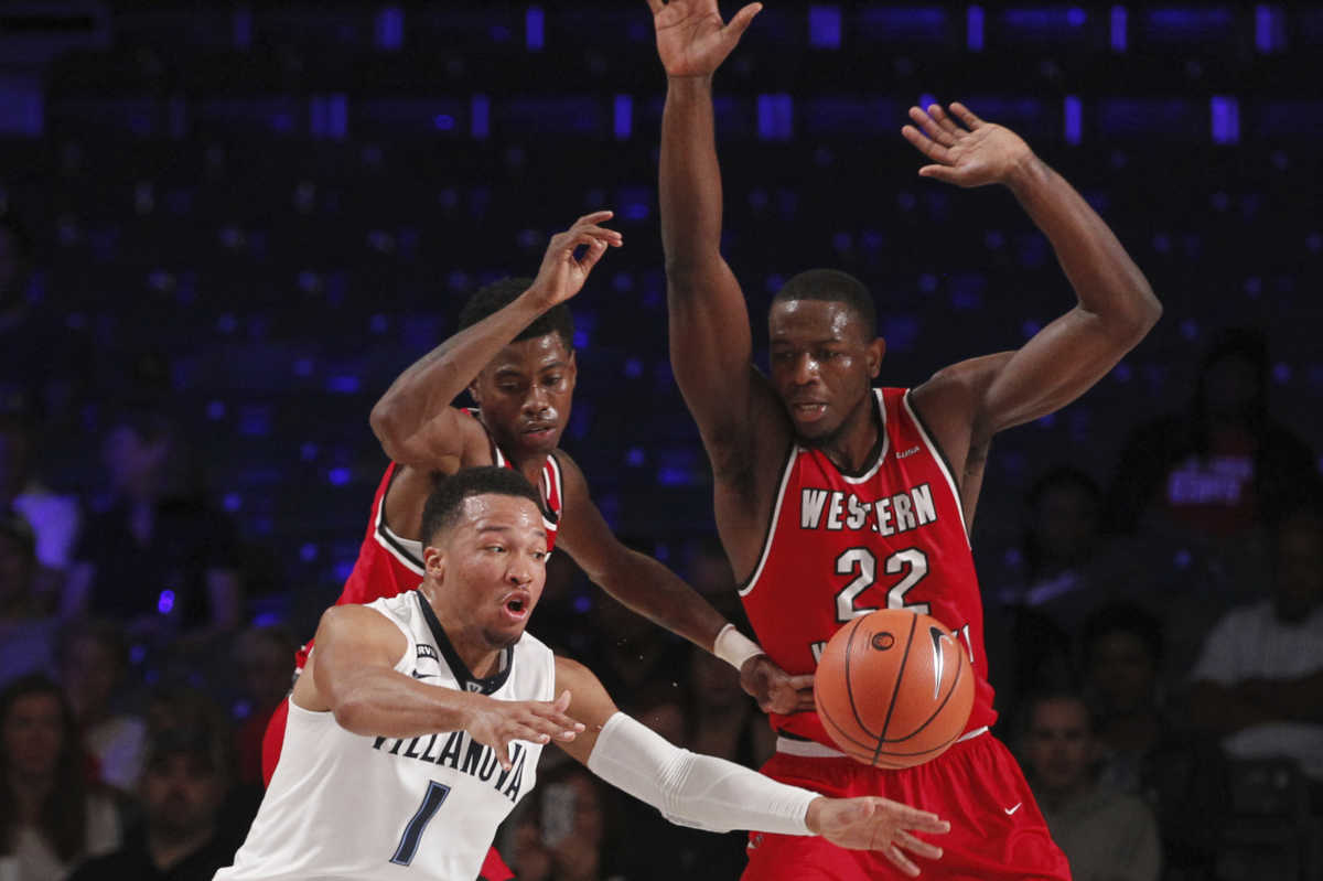 Villanova guard Jalen Brunson (1) receives the pass during the first day of action Nov. 22, 2017 in the Bad Boy Mowers Battle 4 Atlantis tournament in Paradise Island, Bahamas. (Bahamas Visual Services Photo/Tim Aylen)