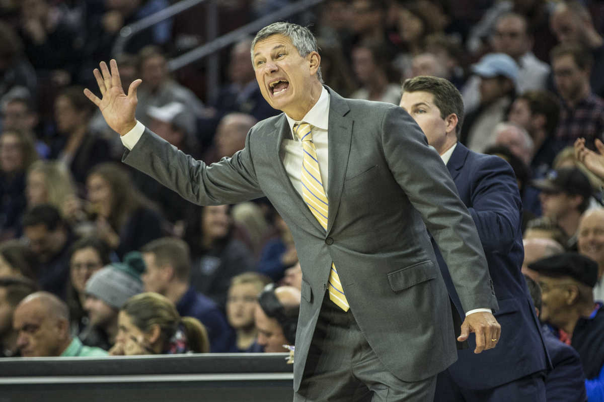 La Salle's head coach Dr. John Giannini yells out a play to his team during the second half of their game against Villanova on Sunday December 10, 2017. Villanova won 77-68.  Mens college basketball La Salle at Villanova at Wells Fargo Center on Sunday December 10, 2017.