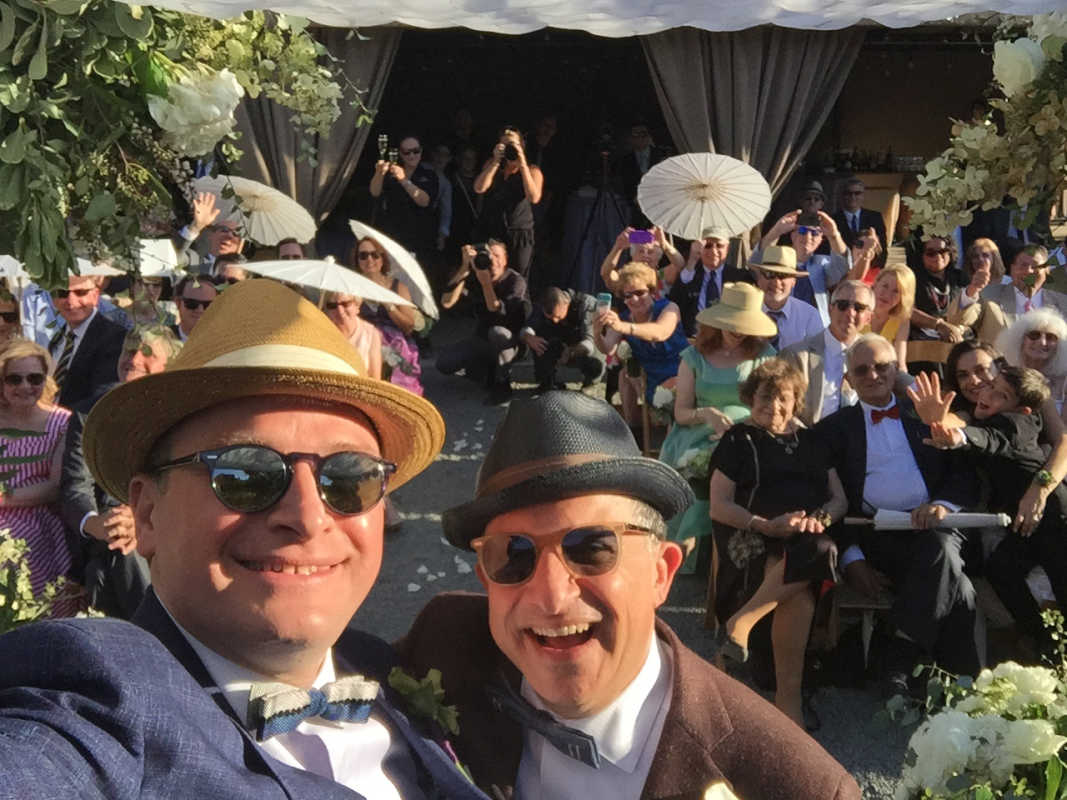 Selfie from the altar of Eliav Barr (right) and Paul Koulogeorge<br />