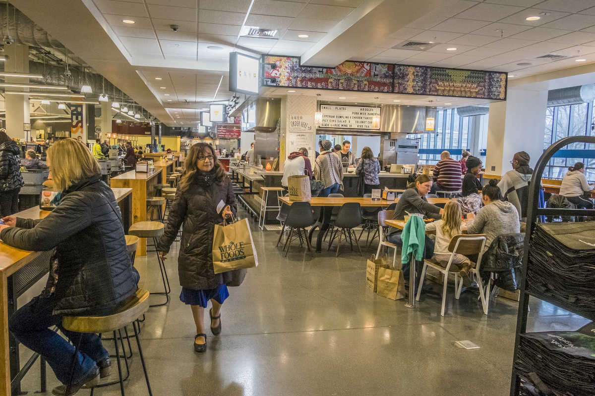 A view of the food court from the Whole Foods sales floor.