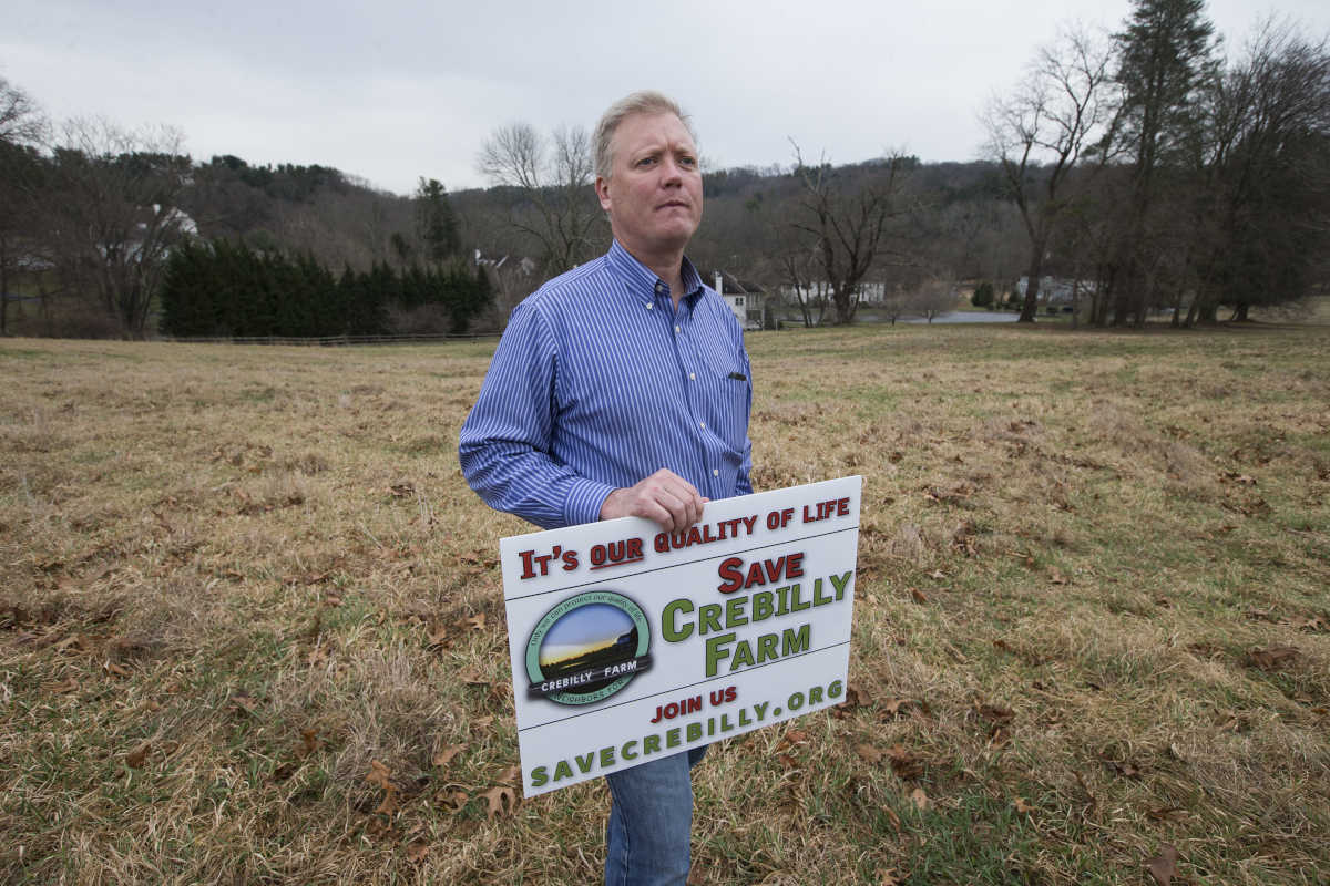 Ken Hemphill stands on township land on March 1, 2017, near the site of the proposed development. The developer had proposed building a huge, 559-unit retirement community on the land in the background. As open space dwindles in Delaware County, township officials have started pushing back on developer requests for huge projects. As a result, two big lawsuits against Marple Township. Part of the reason officials have been rejecting plans has been because of pushback from a highly-organized resident group, which mounted a tremendous anti-development campaign.