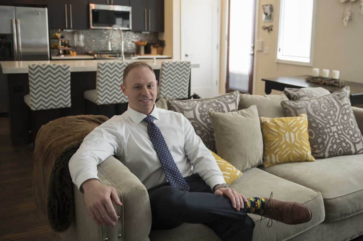Josh Winigrad, in his home in the IceHouse Community in Fishtown, a community he selected because of Philadelphia's ten-year tax abatement.